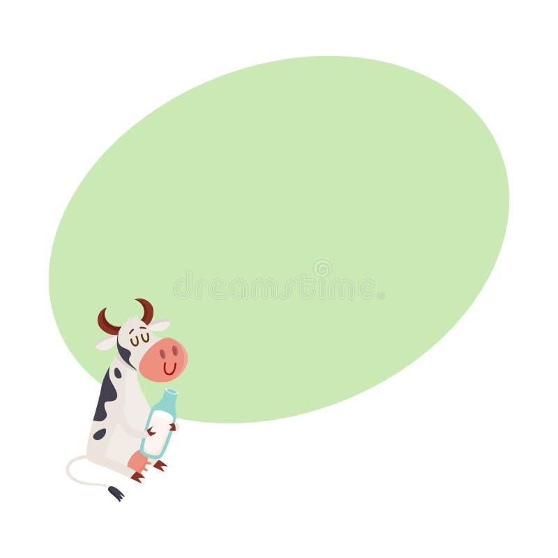 Zwart-witte bevlekte koezitting, de melkfles van het holdingsglas vector illustratie