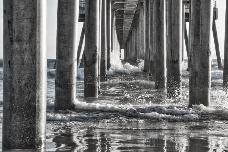 Zwart-witte Bezinningen onder Oceaanpijler stock afbeelding