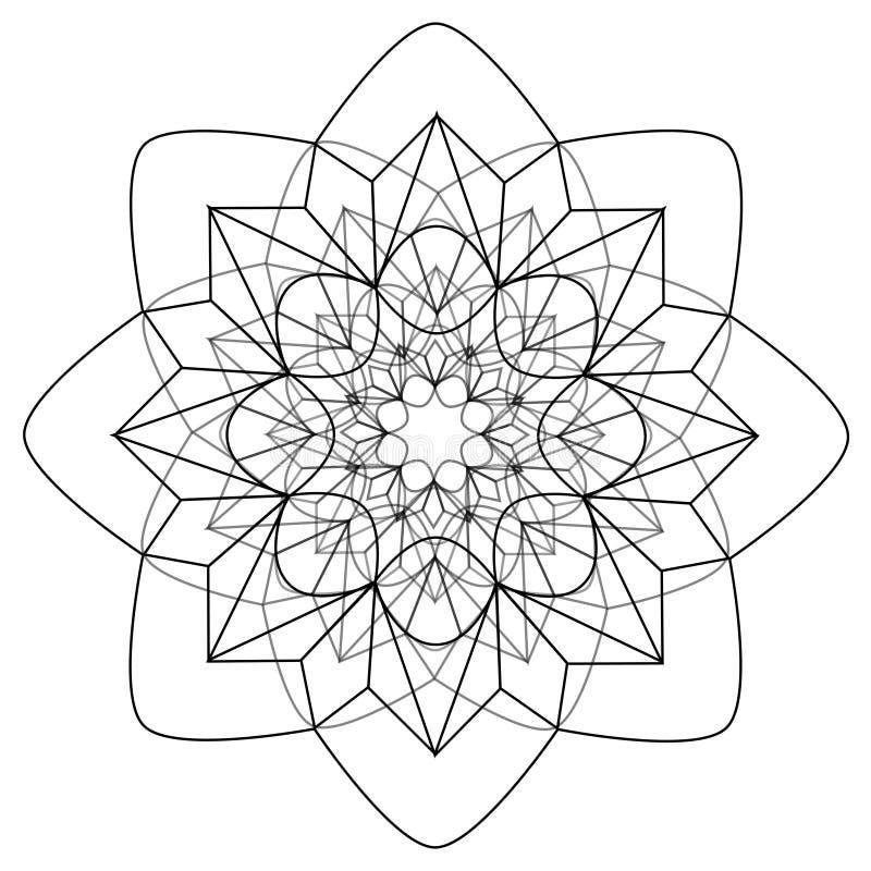 Zwart-witte bloemen vectormandala stock illustratie