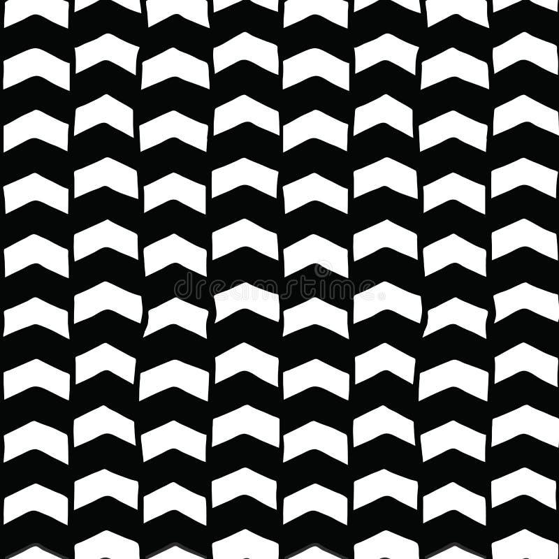 Zwart-witte chevronhand getrokken naadloze vectorachtergrond Zwart-wit pijlen abstract patroon Het herhalen van achtergrond vector illustratie