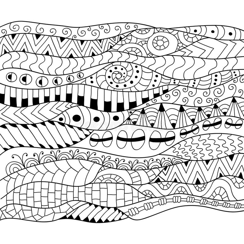 Zwart-witte contourachtergrond Sier etnisch patroon vector illustratie