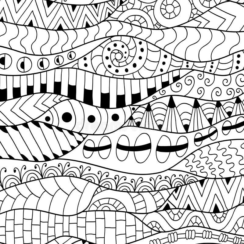 Zwart-witte contourachtergrond Sier etnisch patroon royalty-vrije illustratie