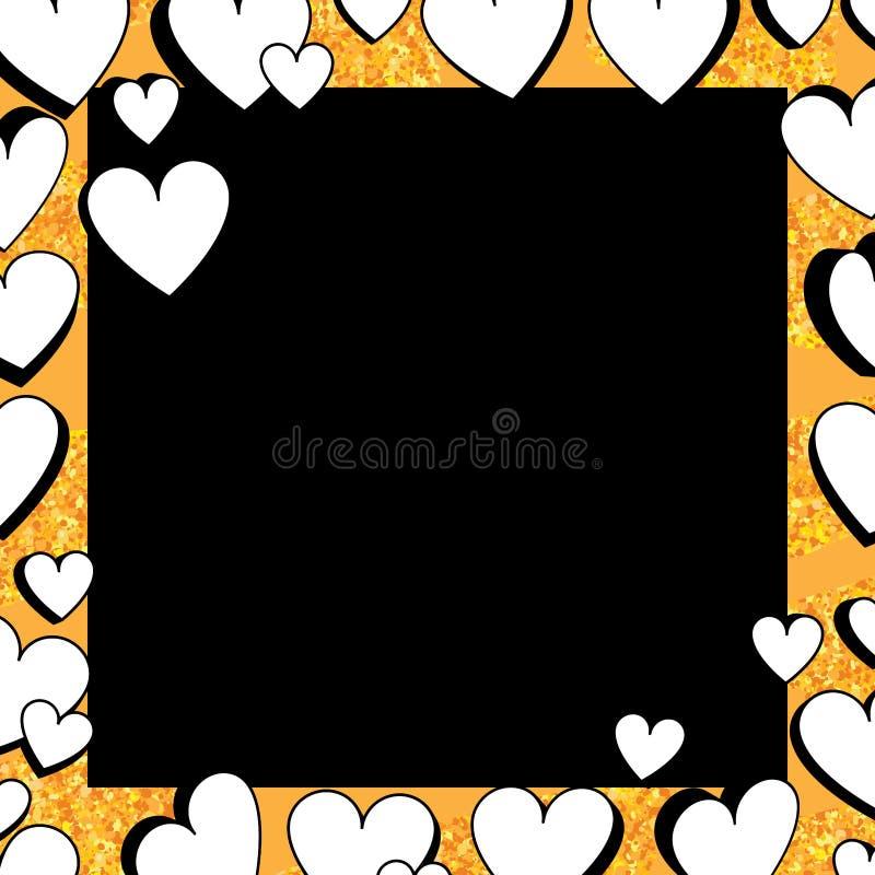 Zwart-witte 3d goud van de liefde schittert het dubbele liefde kader royalty-vrije illustratie