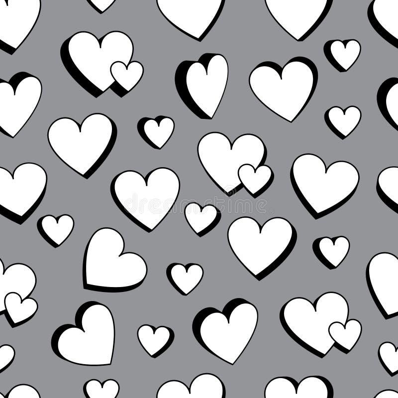 Zwart-witte 3d naadloze patroon van de liefde het dubbele liefde royalty-vrije illustratie