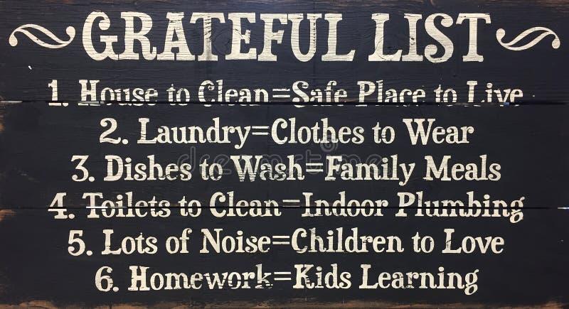 Zwart-witte dankbare lijst stock foto