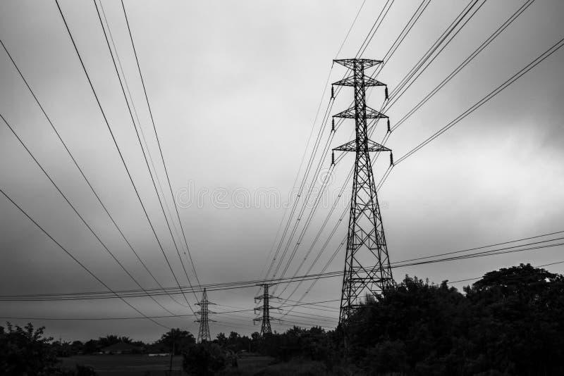 Zwart-witte de lijn van de elektriciteitspool stock afbeeldingen