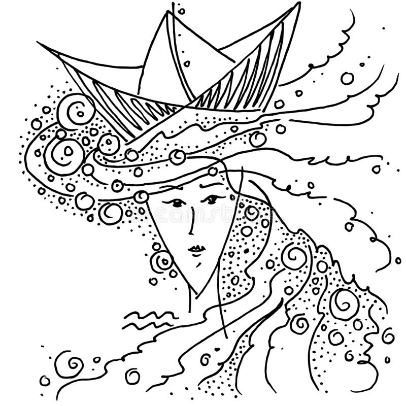 Zwart-witte de tekeningsmeisjes van Waterman van het dierenriemteken met het overzees in haar haar en een hoed in de vorm van een royalty-vrije illustratie