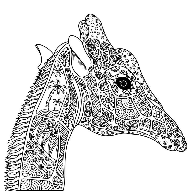 Zwart-witte decoratieve giraf stock illustratie