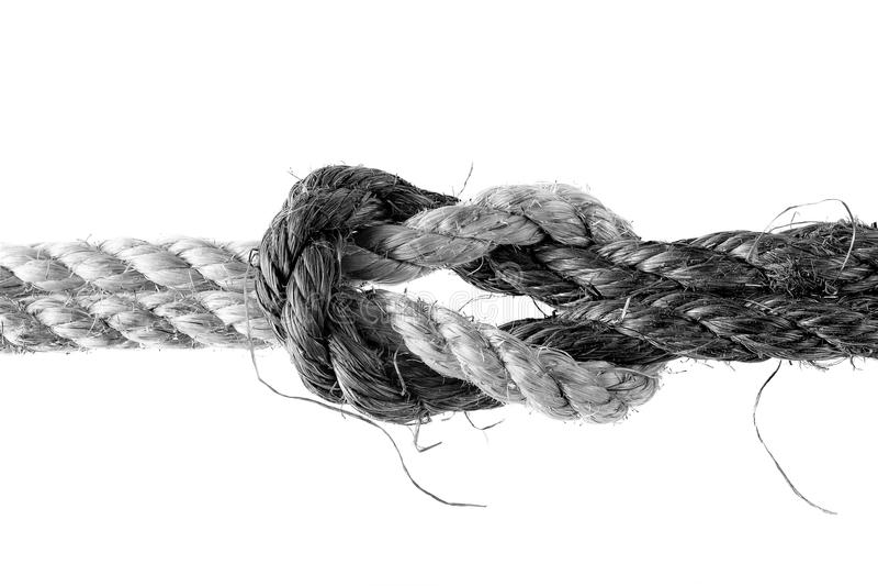 Zwart-witte die kabels door dubbele platte knoop worden verbonden stock afbeeldingen
