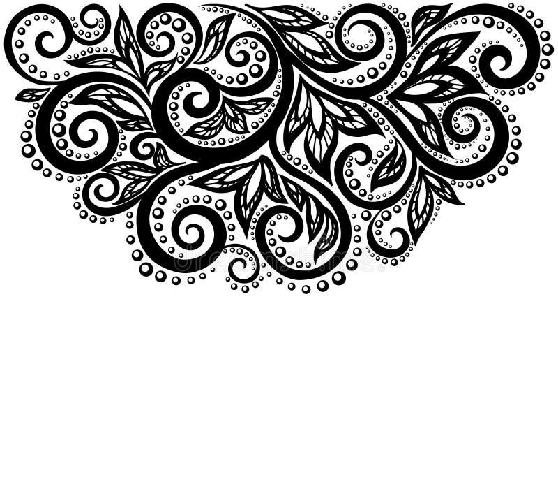 Zwart-witte die kantbloemen en bladeren op wit worden geïsoleerd. Bloemenontwerpelement in retro stijl. royalty-vrije illustratie