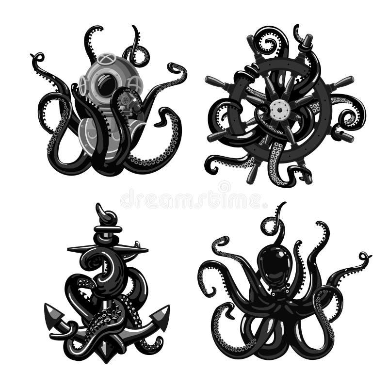 Zwart-witte die tatoegering met octopus wordt geplaatst Tentakels met ankerhelm en roer Geïsoleerd bij de witte inzameling van de stock illustratie