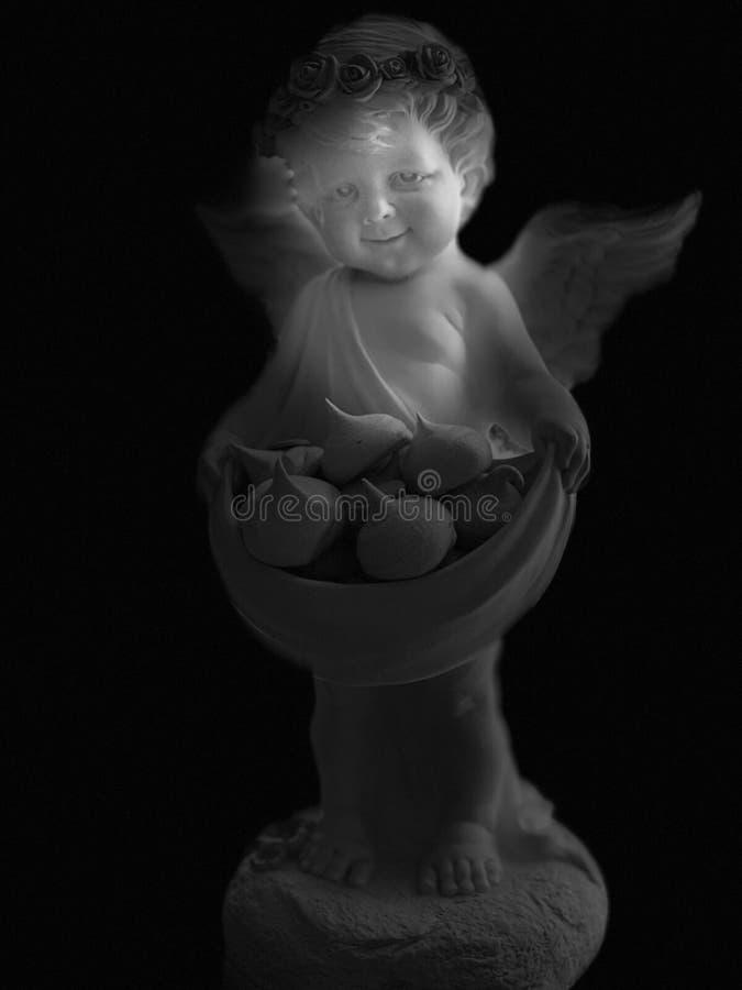 Zwart-witte engel, grote engel met vleugels op een zwarte achtergrond stock foto