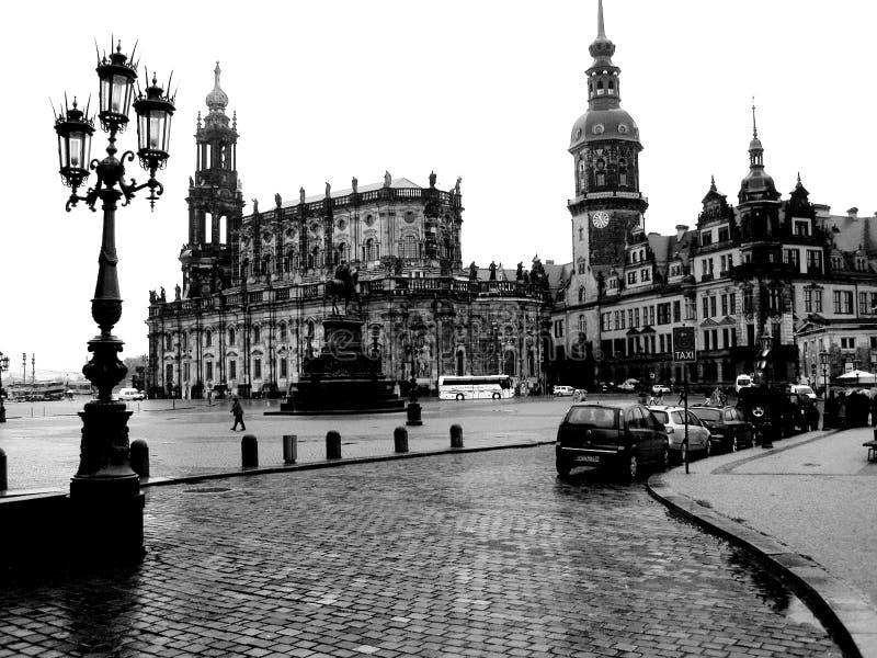 Zwart-witte foto Dresden stock afbeelding
