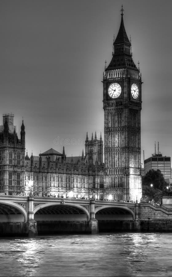 Zwart-witte foto van Big Ben, Londen, Verenigd K stock foto's