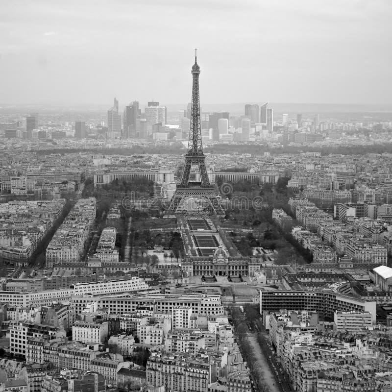 Zwart-witte foto van luchtmening Parijs, Frankrijk royalty-vrije stock foto's