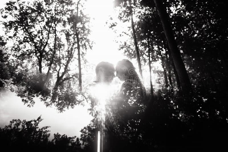 Zwart-witte foto van vrolijke emotionele jonggehuwden royalty-vrije stock afbeelding
