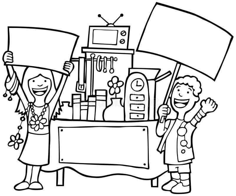 Zwart-witte garage sale - vector illustratie