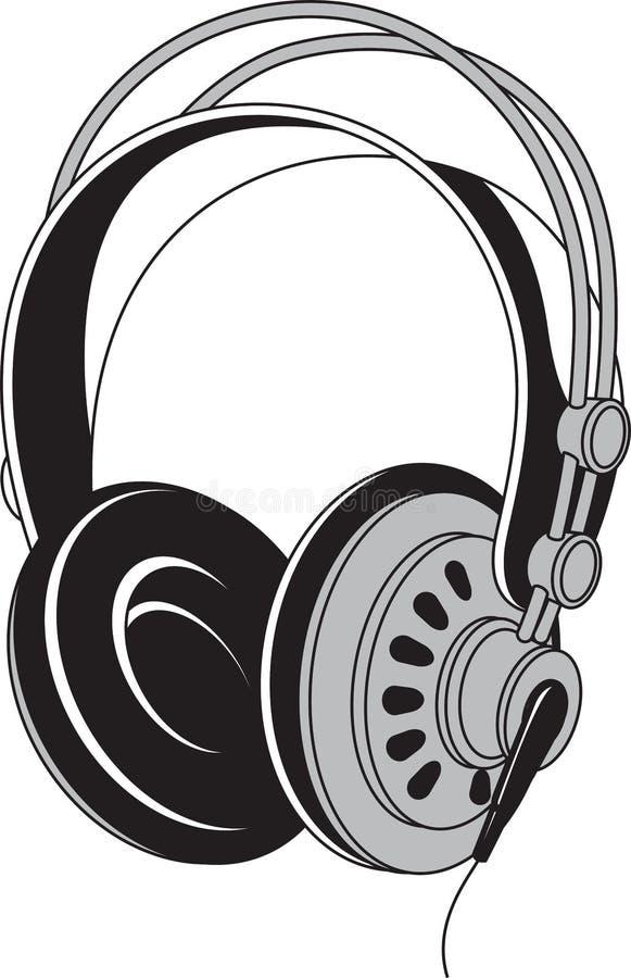 Zwart-witte geïsoleerde illustratie van hoofdtelefoons akoestische dev vector illustratie