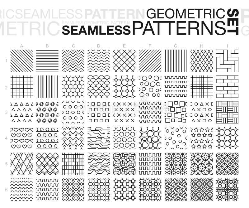 Zwart-witte Geometrische Naadloze geplaatste Patronen stock illustratie