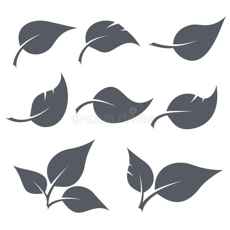 Zwart-witte geplaatste bladerenvormen stock illustratie