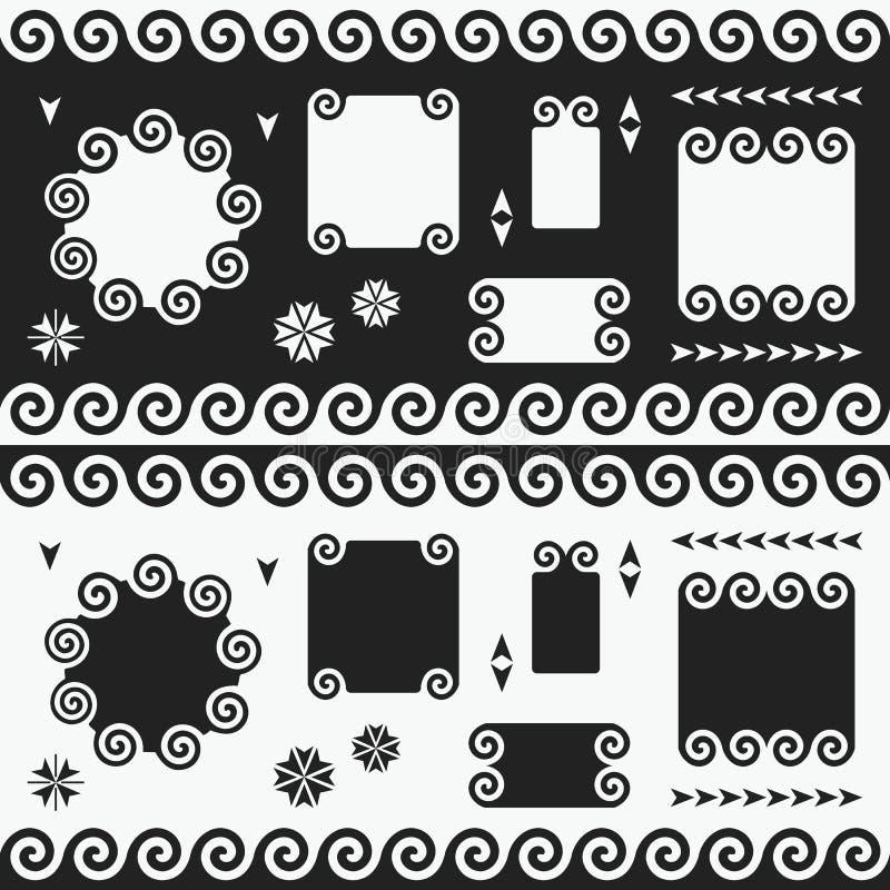 Zwart-witte geplaatste wervelings lege banners, emblemen, etiketten en markeringen stock illustratie