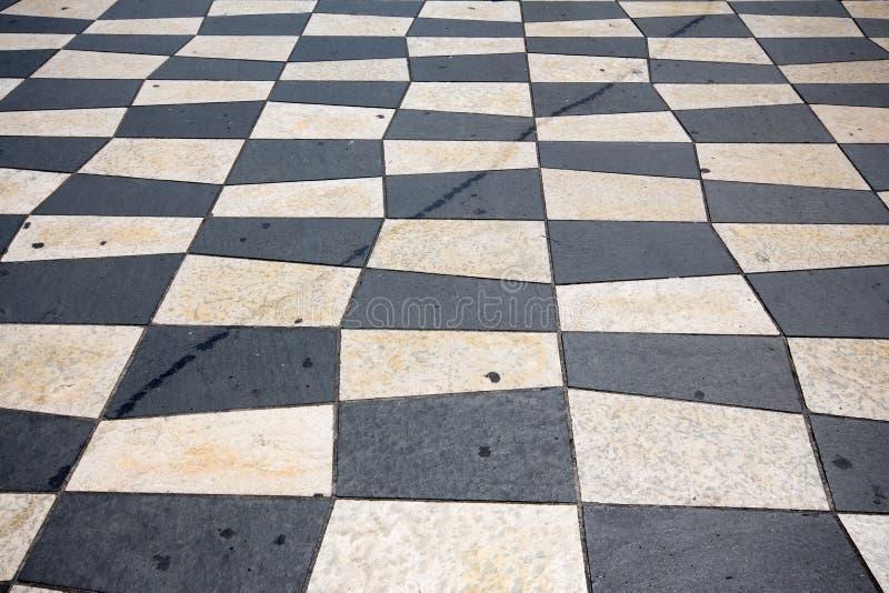 Zwart-witte Geruite Tegels royalty-vrije stock afbeeldingen