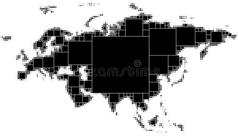 Zwart-witte gestippelde kaart van Eurasia Het bestaan uit regelmatig dalende vierkanten van de maximumdiegrootte in de vorm wordt royalty-vrije illustratie