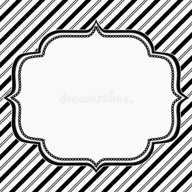 Zwart-witte Gestreepte Achtergrond met Borduurwerk vector illustratie
