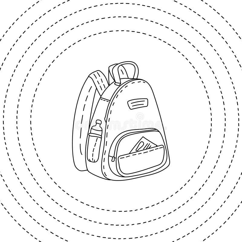 Zwart-witte getrokken rugzakhand, vectorillustratie vector illustratie