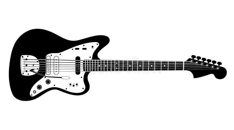 Zwart-witte gitaar vector illustratie