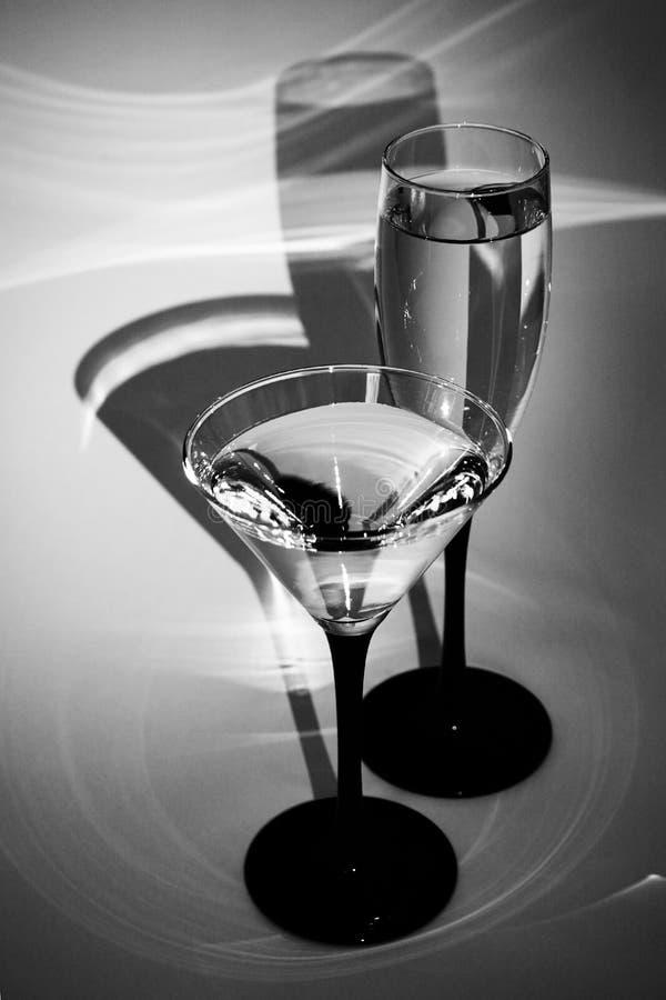 Zwart-witte glazen royalty-vrije stock afbeeldingen