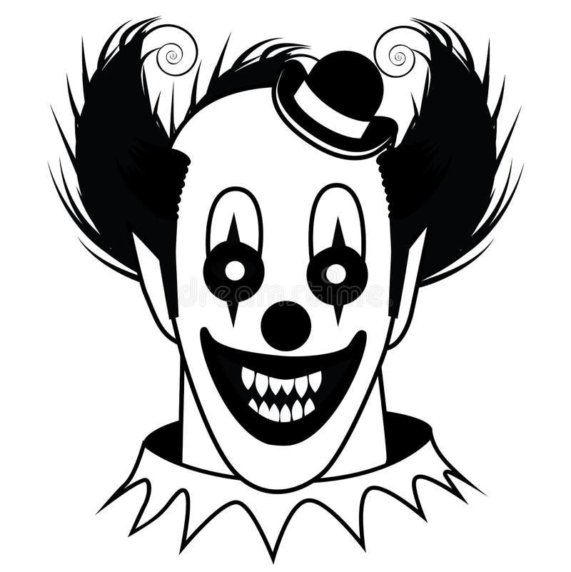 Zwart-witte Griezelige Clown vector illustratie