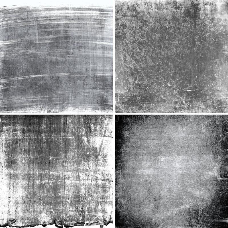 Zwart-witte grungetexturen stock afbeeldingen