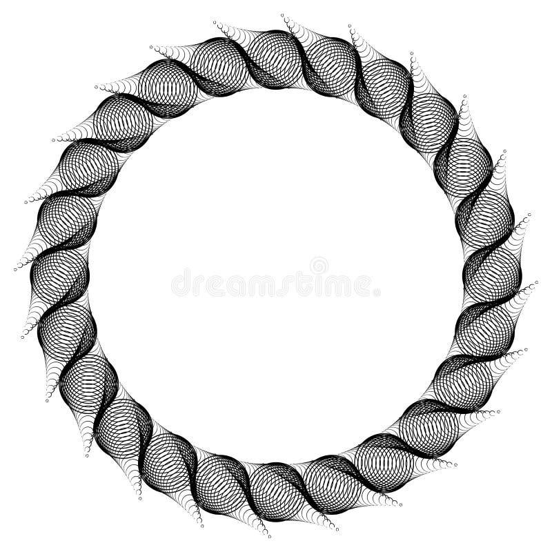 Zwart-witte guilloche om kader Het art. van de roosterklem stock fotografie