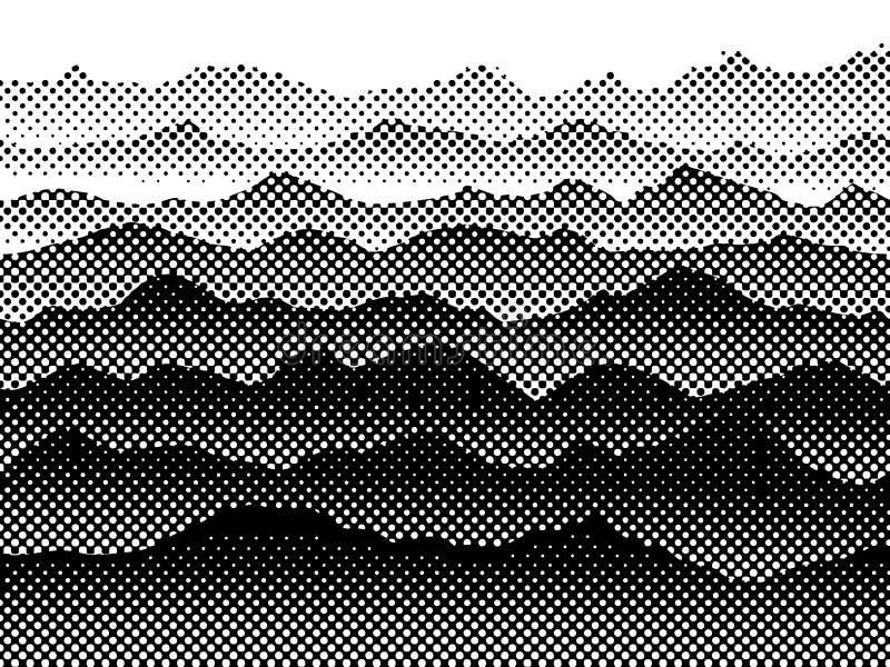 Zwart-witte halftone bergen in de mist Het kan voor prestaties van het ontwerpwerk noodzakelijk zijn stock illustratie
