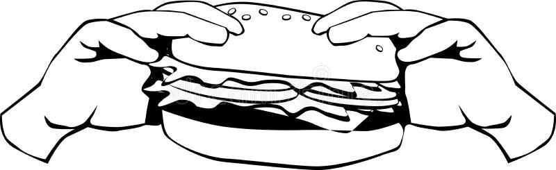 Zwart-witte hamburger royalty-vrije illustratie