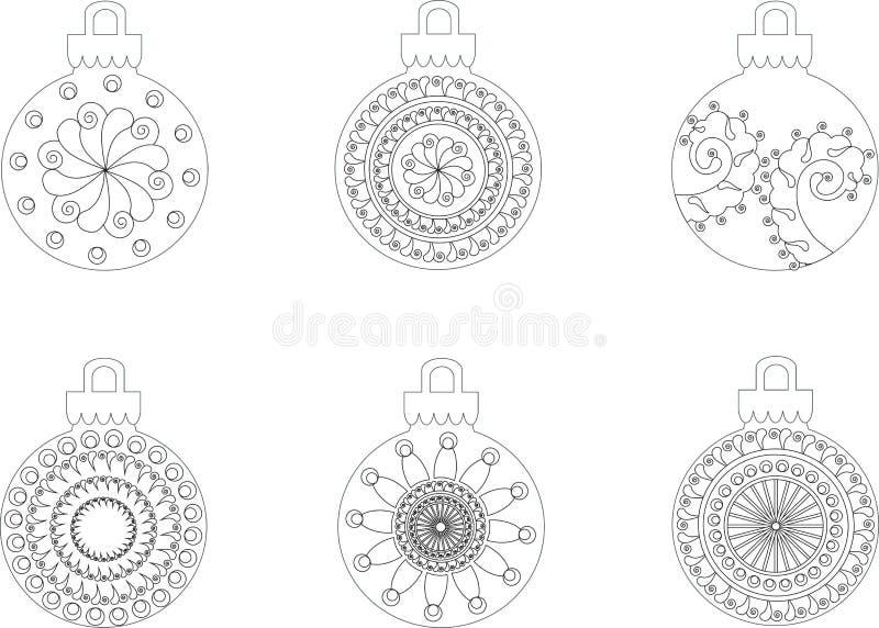 Zwart-witte hand getrokken Kerstmisballen, antispanning vector illustratie