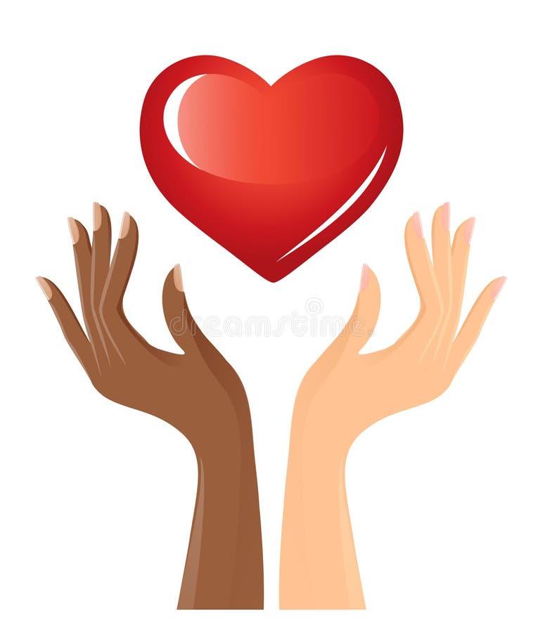 Zwart-witte handen met hart royalty-vrije illustratie