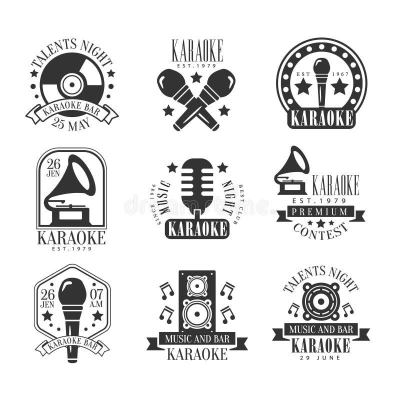 Zwart-witte het Etiketreeks van de karaokebar stock illustratie