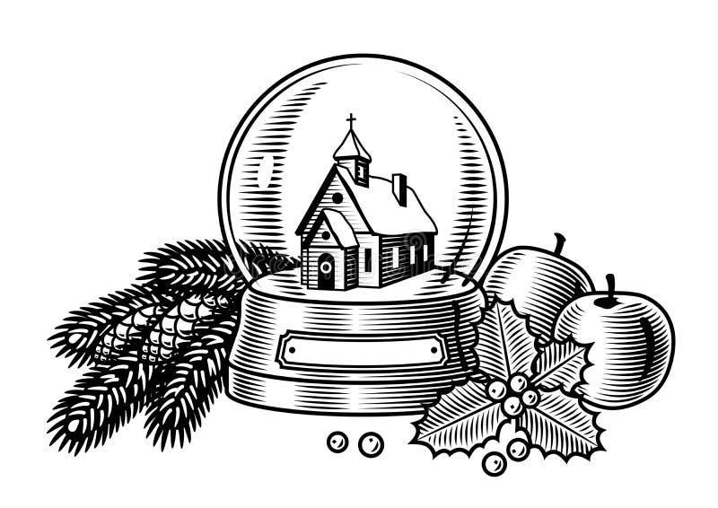 Zwart-witte het stilleven van Kerstmis royalty-vrije illustratie
