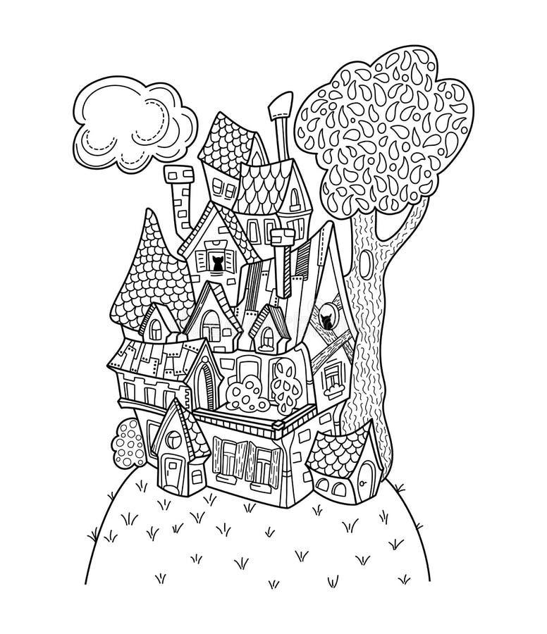 Zwart-witte huis vector kleurende pagina Hand-drawn illustratie van de middeleeuwse of plattelandsarchitectuur royalty-vrije illustratie