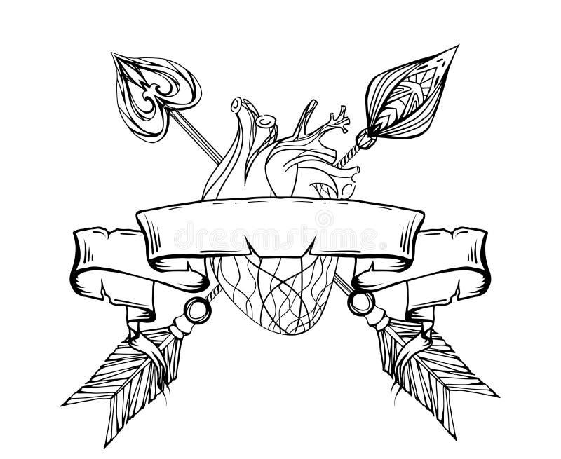 Zwart-witte illustratie van een hart met een pijl royalty-vrije illustratie