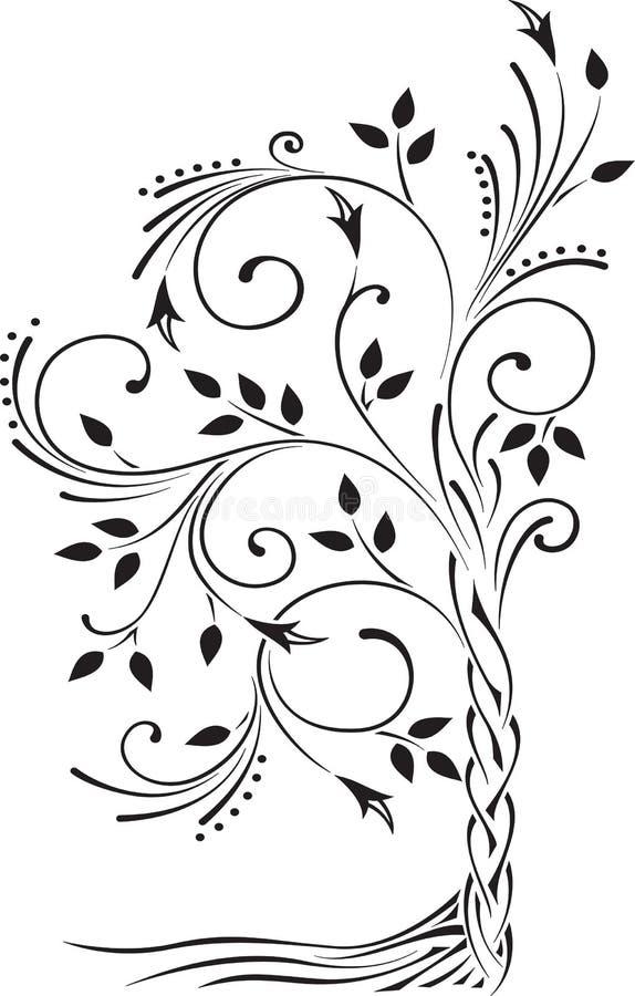 Zwart-witte illustratie van een mooie gestileerde boom met l stock illustratie