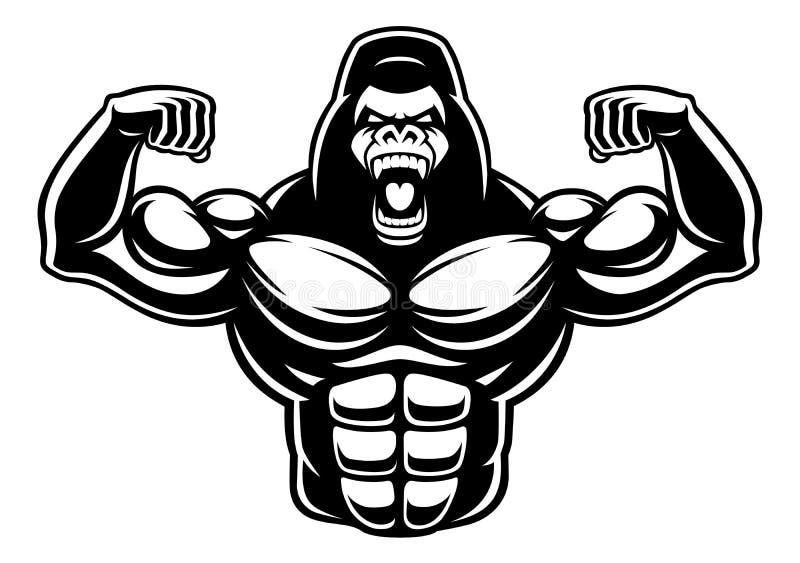 Zwart-witte illustratie van gorillabodybuilder