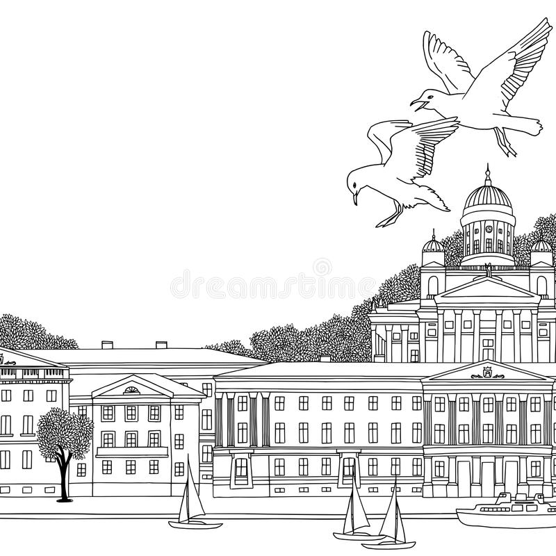 Zwart-witte illustratie van Helsinki vector illustratie