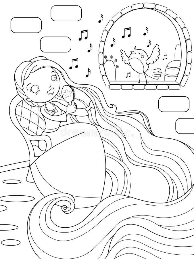 Rapunzel zingt in de toren vector illustratie