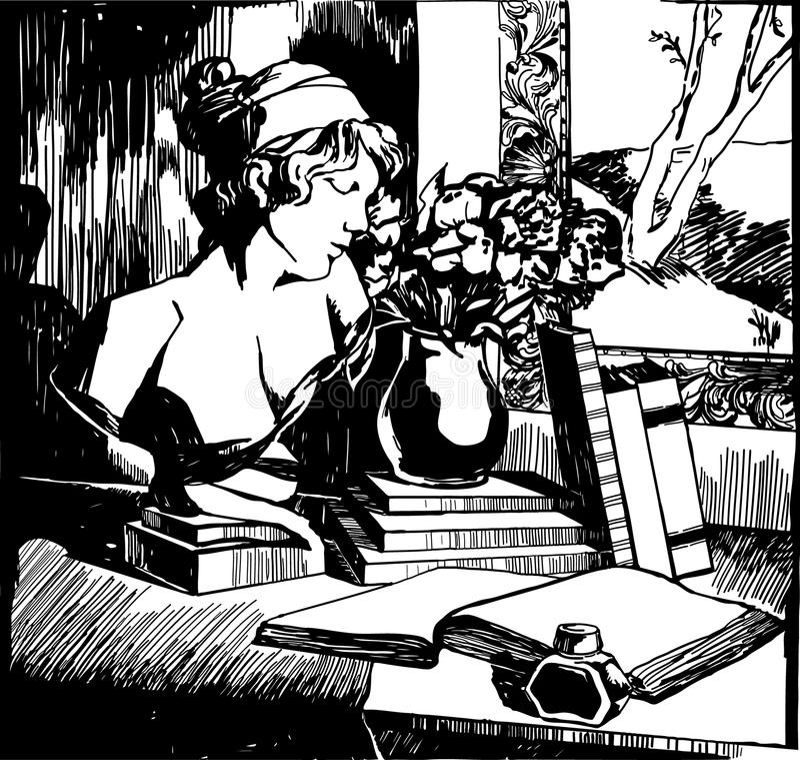 Zwart-witte illustratie van stilleven stock illustratie