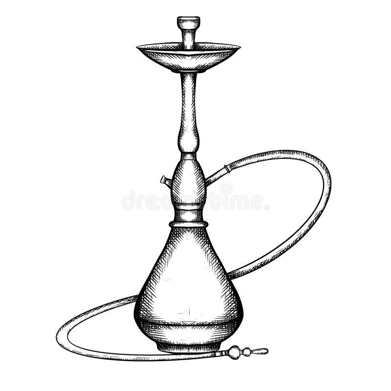 Zwart-witte illustratie van waterpijp met het uitbroeden vector illustratie