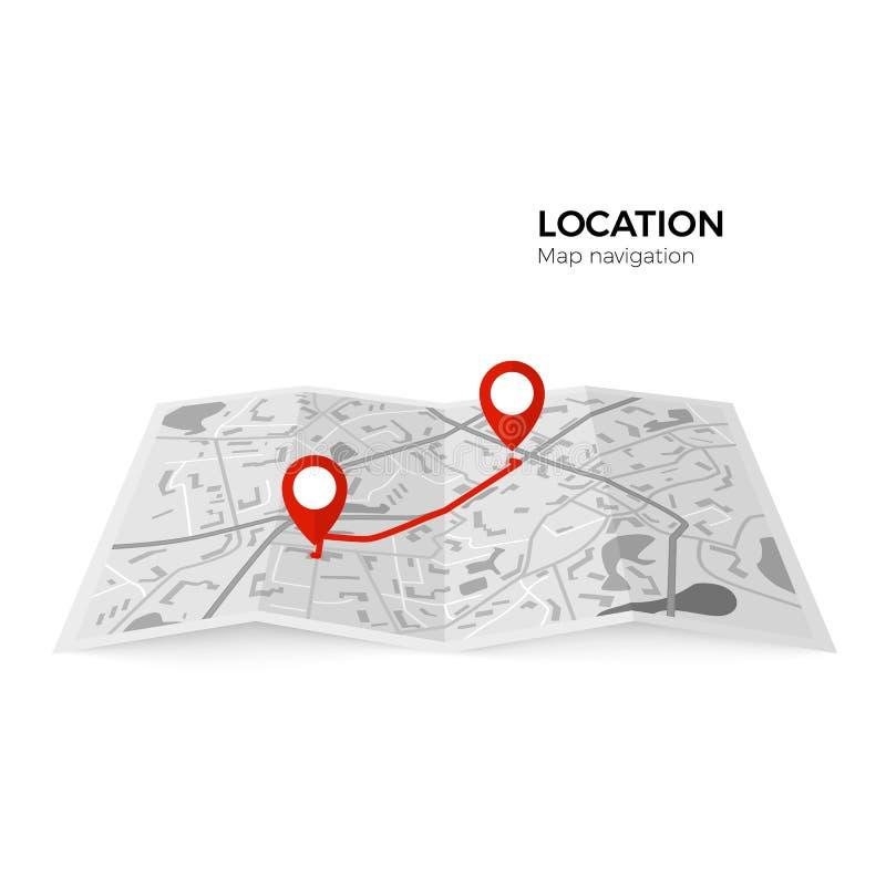 Zwart-witte kaart met rode wijzers van het uitgangspunt van de route en def. GPS Navigator royalty-vrije illustratie