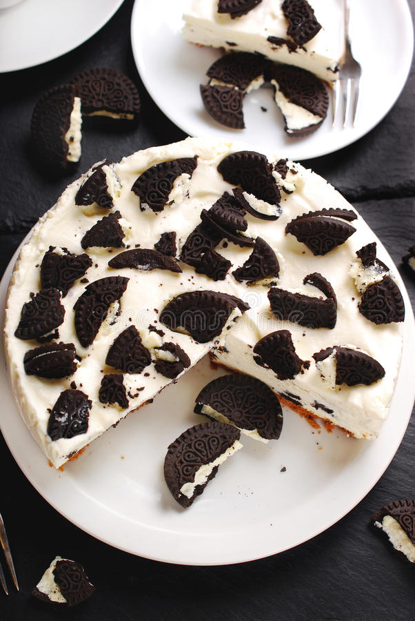 Zwart-witte kaastaart stock foto